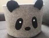 Nordic inspired felt toy storage, panda basket, Scandinavian nursery organiser