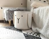 Nordic inspired felt bunny toys basket