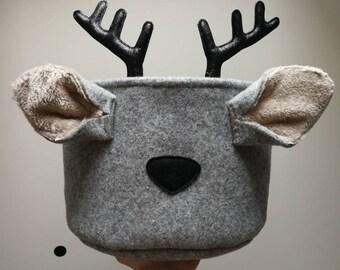 Felt deer basket inspired nordic Christmas