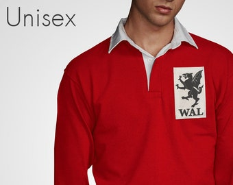 8b7a641edfd Ultra Retro Wales Rugby Jersey With Vintage Patch Welsh Sporting Jumper 6  Six Nations Top Long Sleeved Mens Womens Cymru T-Shirt Dragon
