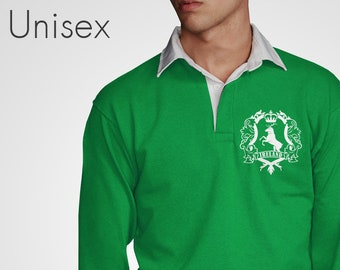 dae6f865d96 Retro Ireland Rugby Jersey Green Jumper Vintage Style Irish Top Football  Clothing Long Sleeved Mens Womens Clover T-Shirt Elk Tshirt