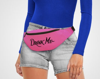 Drink Me Bag Belt Red Retro Bum Bag Castle Storage Bumbag Retro Drawing fanny pack Sketch Cartoon holdall Cross Body Bags Holiday Alice