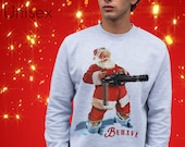 Behave Christmas Sweater Xmas Santa Claus Mini Gun Jumper Festive St. Nick Guns Top Retro Card Style Sweatshirt Seasons Greetings Naughty