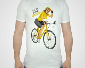 403a42f53 Cycling Pin Up Girl T-shirt Yellow Jersey Tshirt Sexy Bicycle Top Vintage  French Tee Retro PinUp Bike France Racing 2016