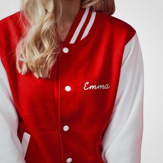 Personalised Letterman Jacket with Customised Text Choice Custom Printed College Varsity Workwear Coat Baseball American Fashion Clothing