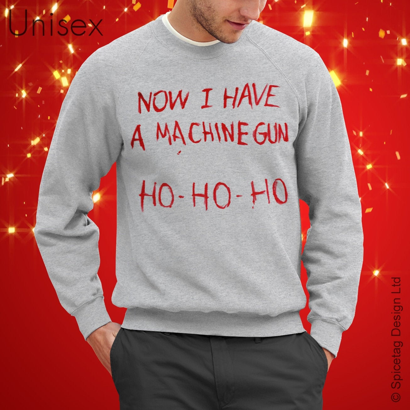 Now I Have A Machine Gun Sweater Movie Jumper Film Sweatshirt Fancy Dress Christmas Xmas Ho Heather Grey S XXL Halloween Costume Shirt