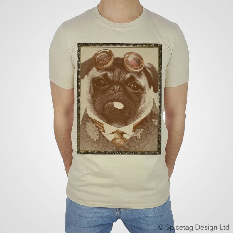010d5d4d8ccb Steampunk camiseta Pug camiseta victoriana Top Vintage divertido feliz  Animal perro t gafas chaleco de moda lindo cachorro blanco mujeres hombres  de ...