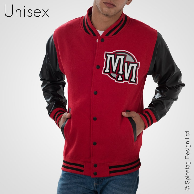 3965cd858 MM Varsity Jacket 1928 Retro Letterman Coat With Faux Leather Sleeves Red  And Black Grey Park Top Michael 80's Unisex Mens Womens Land World