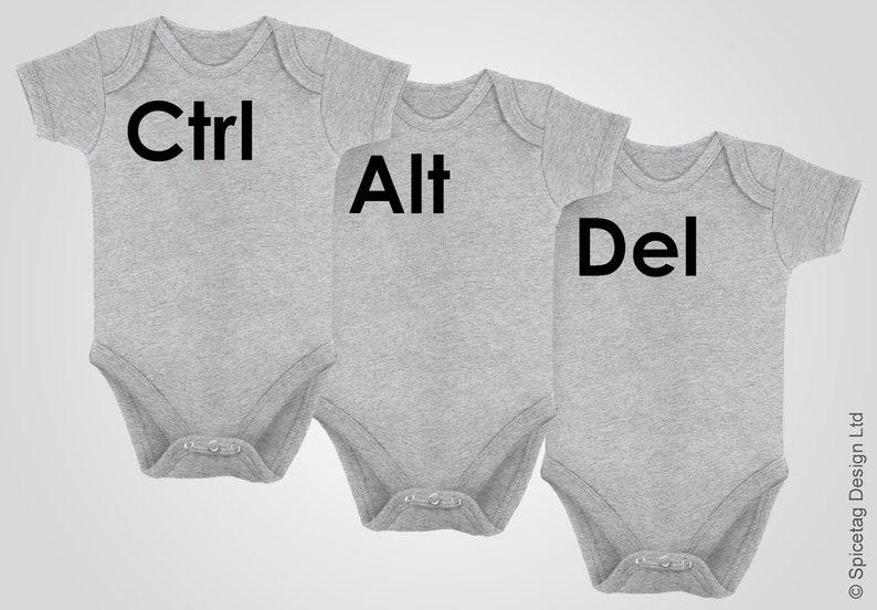 Ctrl Alt Del Triplets Baby Grow Geeky PC Gaming Black Newborn Bodysuit Short Sleeve Sleeved IT Nerd Video Game Computer Top Tee Outfit