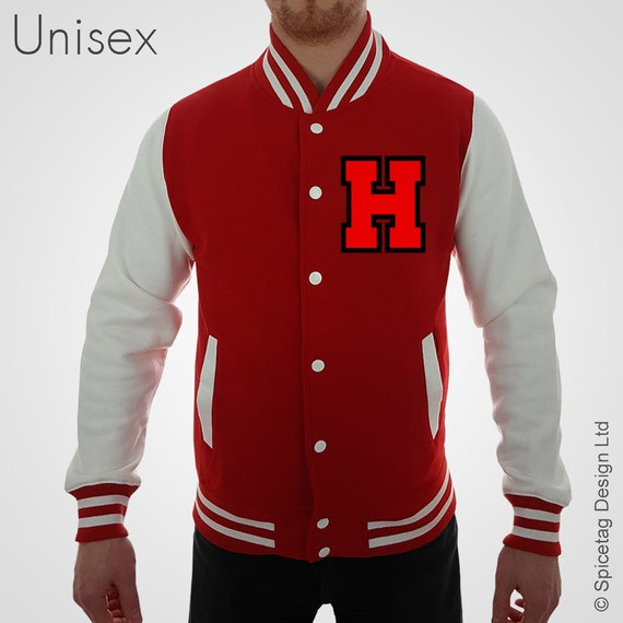 Personalised Red Varsity Jacket With Red Letter And Black Etsy