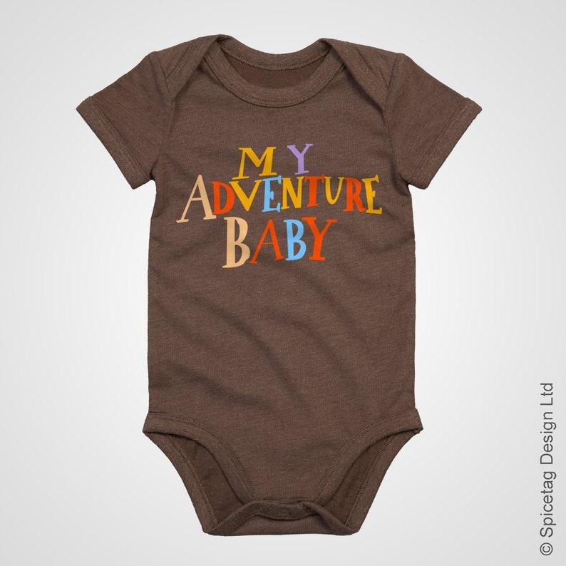 My Adventure Baby Baby Grow Cute Book Shirt Dress Newborn Bodysuit Short Sleeve Sleeved Film Movie Up Brown Top Costume Tee Cosplay Outfit