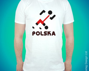 Poland Retro Football T-shirt Stick Man Polish 2018 World Soccer T Shirt Brasil Mens Womens Tee