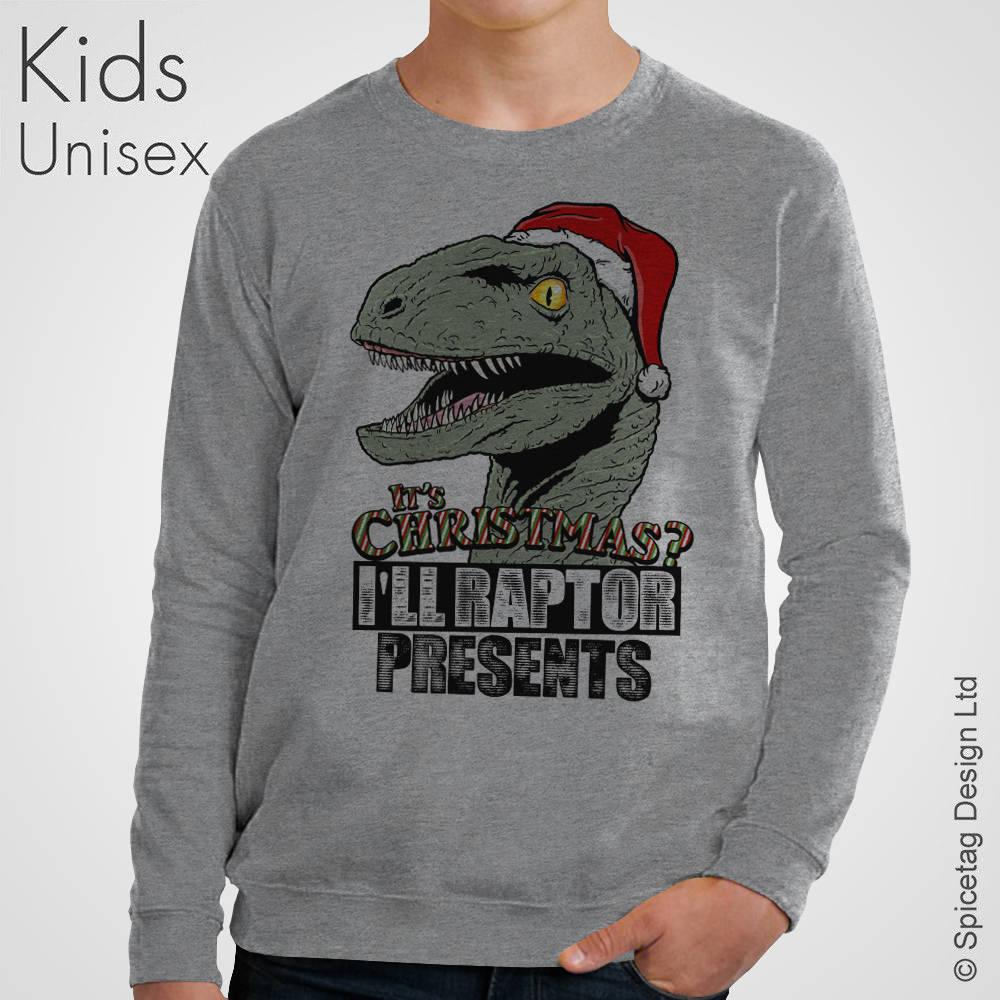 Kids I\'ll Raptor Presents Christmas Sweater Xmas Santa | Etsy