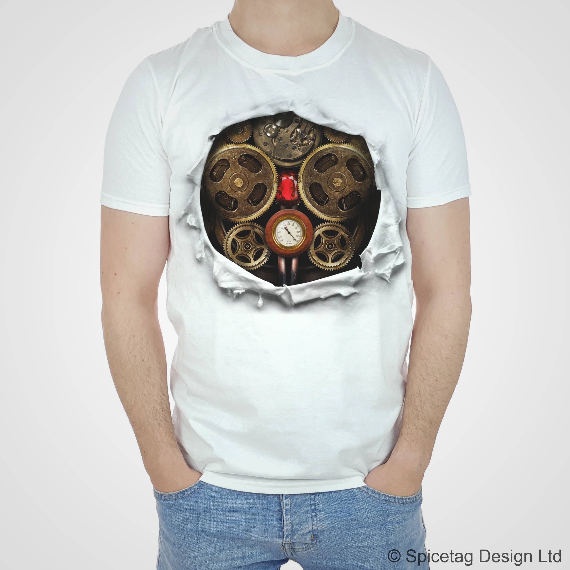 Steampunk Clockwork Robot T Shirt Cyborg Costume Tee Ripped Etsy
