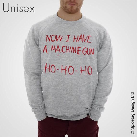 Now I Have A Machine Gun Sweater Movie Jumper Film Sweatshirt Fancy Dress Christmas Xmas Ho Heather Grey S-XXL Halloween Costume Shirt SJscxkNS
