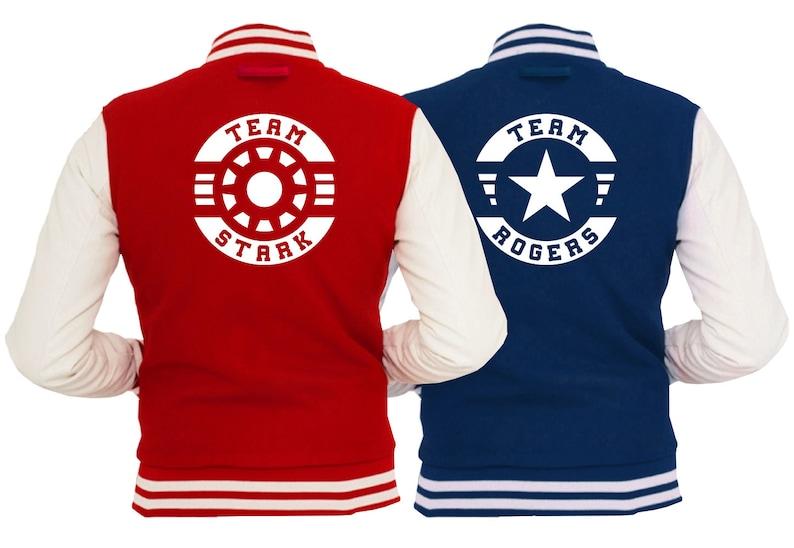 Team Stark Team Rogers Varsity Jacket Red & Navy Blue Comic image 0