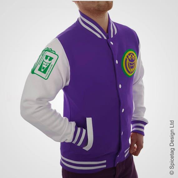 giacca con bianco Etsy viola maniche Varsity Joker College pqSEHtX