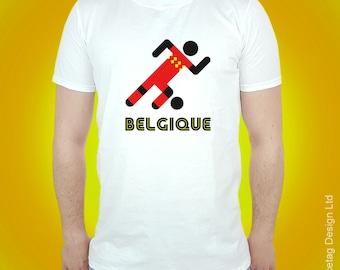 Belgium Retro Football T-shirt Belgian Stick Man 2018 World Soccer T Shirt Mens Womens Tee