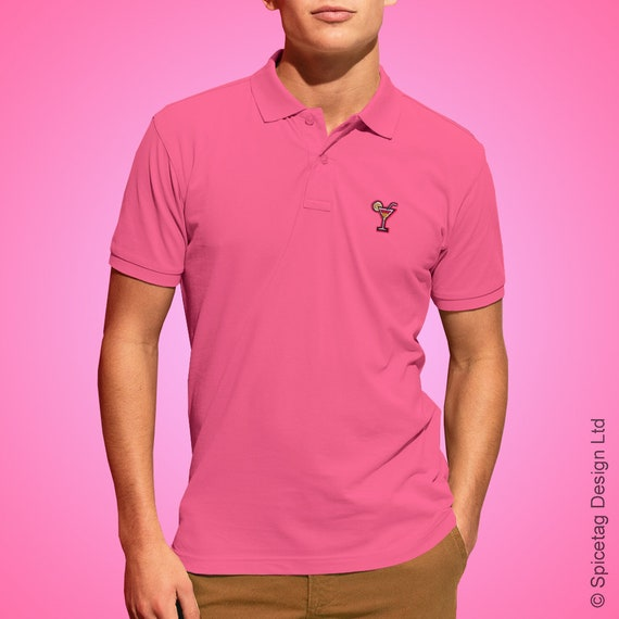 Preis Mode beste website Pink Cocktail Polo Shirt Martini Poloshirt Summer Gin And Tonic T-shirt  Short Sleeve Collar Top Stylish Men's Retro Bright Colour Fashion