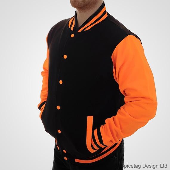 Neon Orange /& Black Varsity Jacket Noir College Letterman Coat Baseball Top American Fashion Clothing University Womens Mens Outfit Electric
