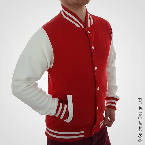 Personalised Red Varsity Jacket with Yellow Letter and White Outline Scarlet College Letterman Coat Baseball Clothing University Outfit