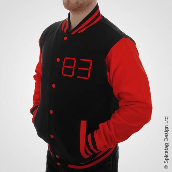 Noir personnalisé et Collège Red Digital Varsity Jacket   Etsy 1d0f5fac1256