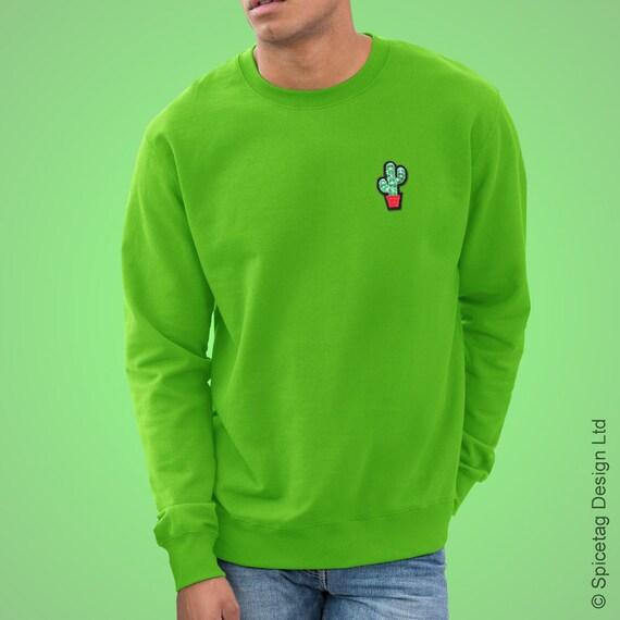 969ebc1ee8 Green Cactus Sweatshirt Cacti Dessert Sweater Retro Plant Pot