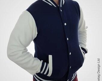 Navy Varsity Jacket Blue College Letterman Coat Baseball Top American Fashion Clothing University Womens Mens Outfit Trending