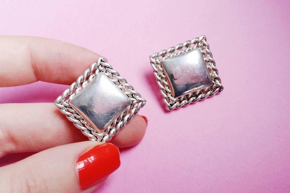 Vintage square earrings clip on. orange faceted je