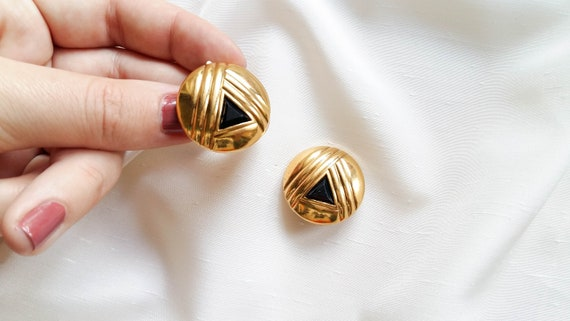 Lanvin - black triangle earrings, vintage art dec… - image 2