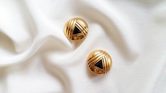 Lanvin - black triangle earrings, vintage art dec… - image 1