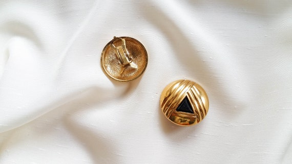 Lanvin - black triangle earrings, vintage art dec… - image 4