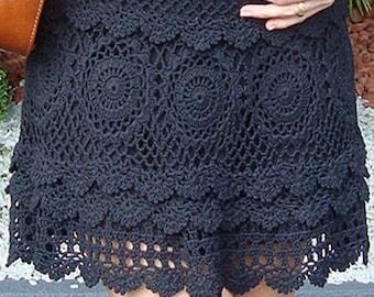 Sexy crochet skirt PATTERN, detailed tutorial in ENGLISH for every row, crochet boho skirt pattern PDF only, sexy mini skirt crochet pattern