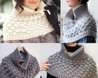 Crochet poncho PATTERN, written tutorial in ENGLISH for every row + charts, casual crochet poncho pattern, removable collar crochet pattern.