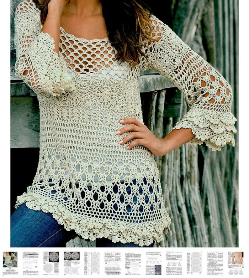 8429fe9aa0d83 Crochet tunic PATTERN for sizes S-2XL detailed tutorial in