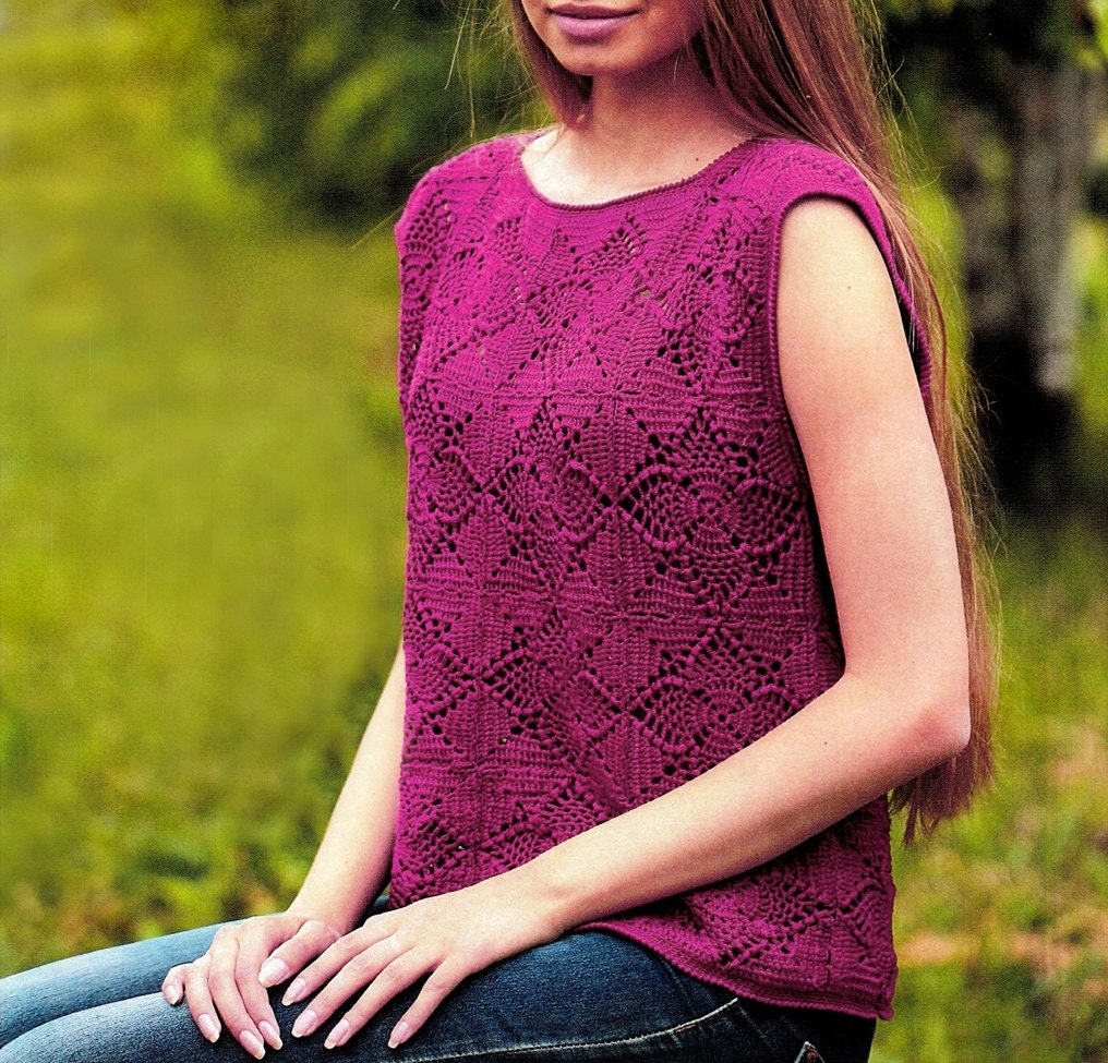Crochet Top Pattern With Pineapple Squares Detailed Tutorial