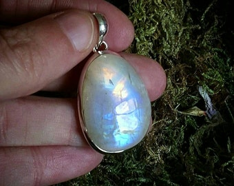 Moonstone necklace sterling silver with amazing flash with 24 inch snake chain