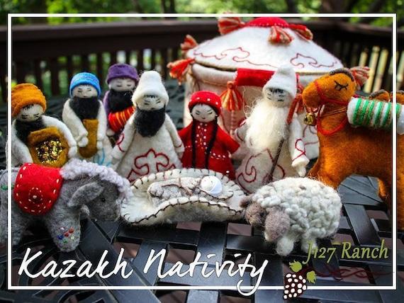 Nativity Scene Nativity Felted Nativity Yurt Kazakhstan Etsy
