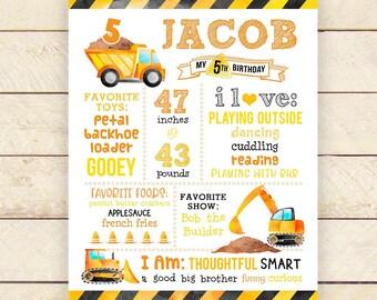 Construction 5th Birthday Milestone Sign, 1st Birthday, Any age, Builder, Truck, Bulldozer, Milestone Sign, Printable Digital File