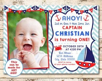 Nautical Sailboat First Birthday Invitation Blue Red Invite O Fishally One 1st Digital File Boy Printable Any Age