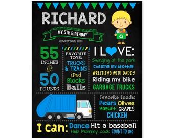 Trash Truck Birthday Poster, Garbage Truck Birthday, Personalized Milestone Sign, Recycle Truck Birthday Chalkboard, Printable Digital File