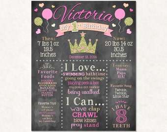 Princess First Birthday Chalkboard Sign, Pink & Gold, Personalized Chalk, Printable, Poster, Glitter, Crown, Hearts, Digital File