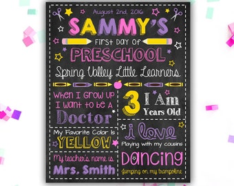 First Day of School - Back to School Sign - Poster - Chalkboard Sign - Digital File - Printable - First or Last Day of Preschool Girl