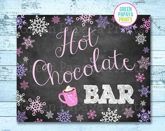 Hot Chocolate Bar Sign, Instant Download, Winter Wonderland, Winter Onederland, Hot Cocoa Party, Printable, Digital File, Pink, Lavender