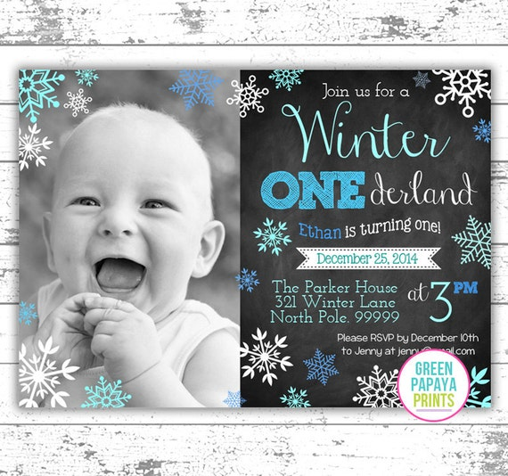 boy s winter onederland invitation digital file printable blue