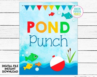 Punch Bowl Sign, Fishing Table Sign, Fishing Printable, Fishing Party Decor, the Big One, Pond Punch, Instant Download