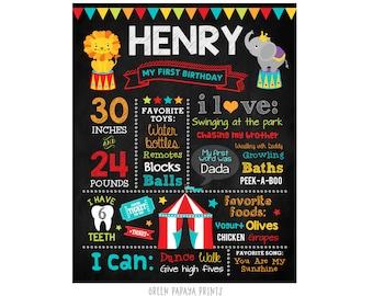 Circus First Birthday Milestone Chalkboard Poster, Carnival Sign, Any Age, Birthday Board, Gift, Keepsake, Printable Poster, Digital File