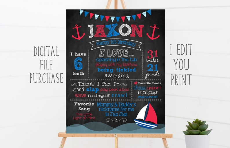 Sailboat First Birthday Chalkboard Sign 1st Birthday Red and image 0