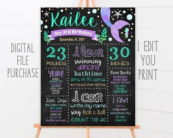 Mermaid Birthday Chalkboard Sign, First Birthday, 2nd, 3rd, 4th Birthday, Any Age, Pink, Blue, Purple, Silver Glitter, Printable File
