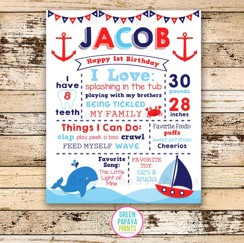 Sailboat Whale First Birthday Sign 1st Birthday Nautical image 0